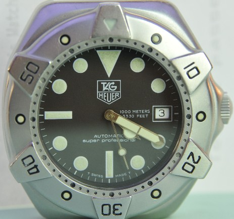 Tag Heuer Super Professional divers watch serviced at Genesis Watchmking