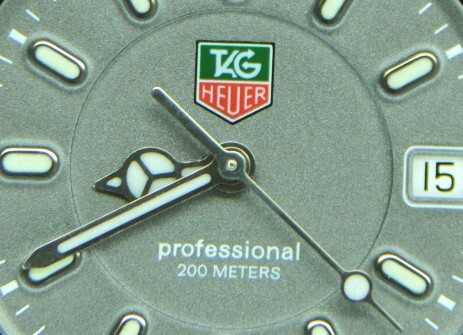 Closeup of Tag Heuer professional 200M dial and hands